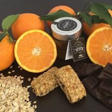 5 Stück Schokolade- und Orangen-Energieriegel. 250g